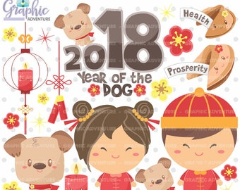 75%OFF - Chinese New Year Clipart, COMMERCIAL USE, Chinese New Year of the Dog Clipart, Year of the Dog Clipart, New Year of the Dog Clipart