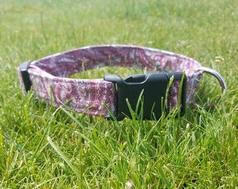 Cute Pink and Purple Pastel Paisley Print Dog Collar