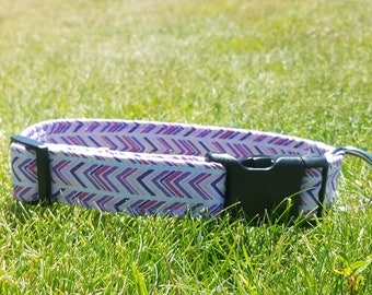 Cute light pink, hot pink, purple, and white arrow dog collar