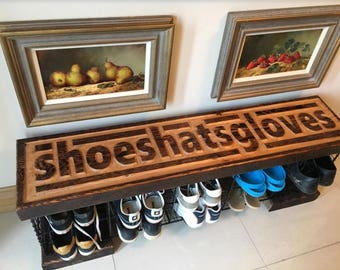 Shoeshatsgloves hallway wire basket storage unit and seating bench. Reclaimed pitch pine furniture. Great gift, housewarming.