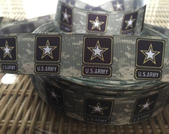 "Army  inspired 1""  Grosgrain Army ribbon   BTY By the Yard  Soldier Ribbon Military One Sided Ribbon"