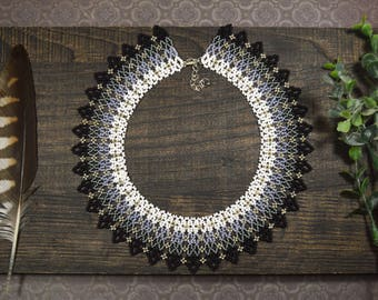 Gray ombre necklace, Choker necklace, Seed bead necklace, Artisan necklace, Beadwork necklace, Boho necklace, Collar necklace, Gift for her