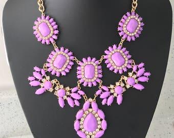 Beautiful large purple statement necklace