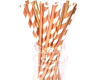 ROSE GOLD FOIL Metallic Paper Straws (set of 25) - Standard Size Straw Rose Gold Mix Foil (19.5cm x 0.6cm)