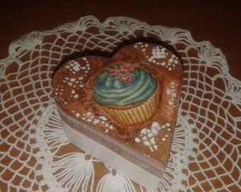 Jewel Box Casket Decoupage Cupcakes Wood