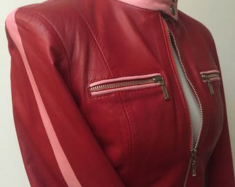 Red and pink hand painted leather jacket