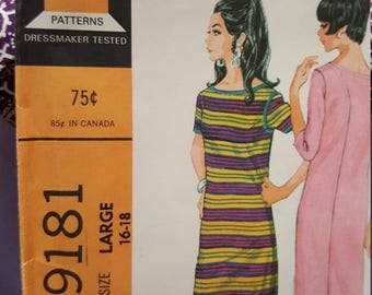 1968 McCalls size 16 to 18 #9181