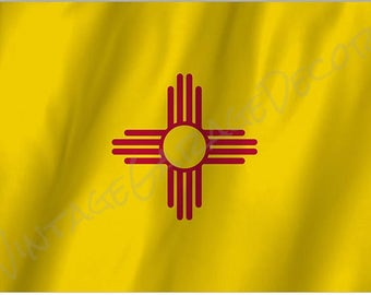 New Mexico State Flag on a Metal Sign