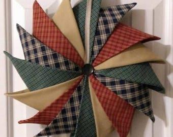 Primitive Fabric wreath, Pinwheel Fabric Wreath, Folded Fabric Wreath, Door Wreath, Indoor Wreath, Home Decor, Country Home Decor