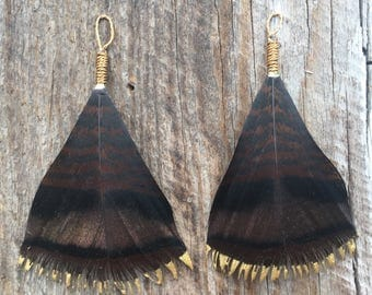 Feather Earrings, Turkey Feather Earrings, Turkey Feathers, Antlers & Grace