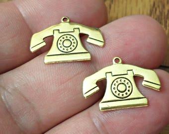 VINTAGE 4 PCS  brass stamping TELEPHONE pendant Charms /U11