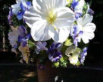 SUMMER CLEARANCE Silk Flower Arrangement Silk Artificial Floral Centerpiece Home Decor Artificial Flower Arrangement