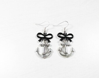 Rockabilly Pin earrings ' up anchor