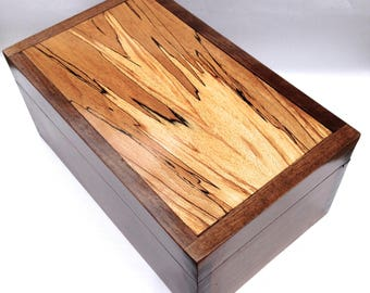 Digby – shown as a jewellery box, mid-sized, handmade in walnut and spalted beech, can customise it in wood size and interior, classic style