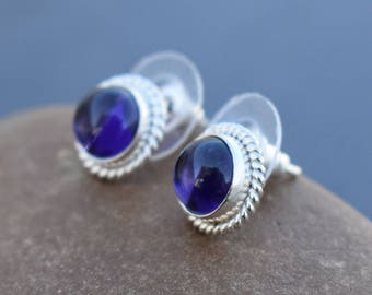 Amethyst Quartz stud earring | Valentine days gift earring | small fancy ring | Round stone stud jewelry | Silver plated stud earring | SE10
