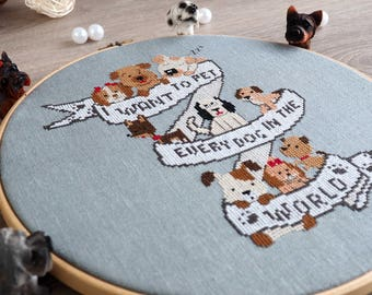 Puppy cross stitch pattern Dog cross stitch Dog embroidery pattern Dog lover Gift Funny cross stitch pattern Modern cross stitch pattern