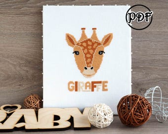 Giraffe head cross stitch pattern Baby cross stitch safari animals cross stitch baby jungle animal cross stitch pattern giraffe cross stitch