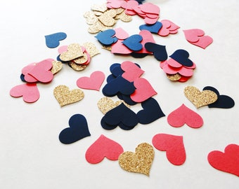 Navy Gold Coral Heart Confetti