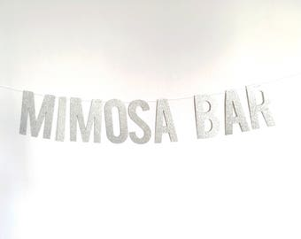 Mimosa Bar glitter banner