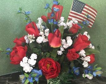 Patriotic Cemetery Urn Flowers