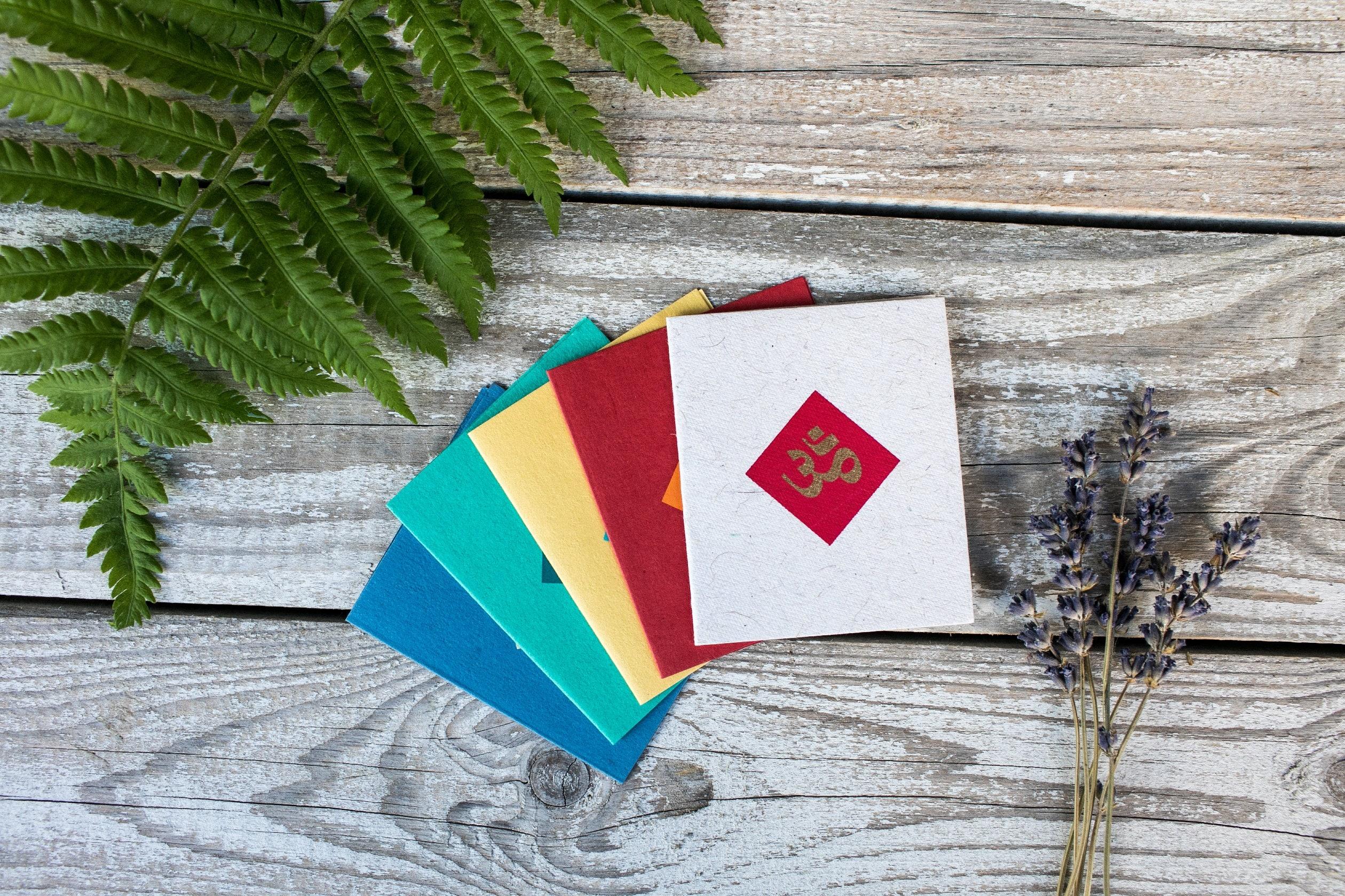 Om mini greeting card handmade paper thank you card gift tag yoga om mini greeting card handmade paper thank you card gift tag yoga card multi color kristyandbryce Gallery