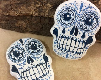 Set of two 'Day of the Dead' inspired ceramic coasters