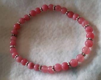 Strawberry Quartz & Silver Daisy Elasticated Bracelet