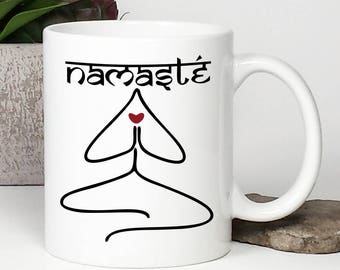 Yoga Mug, Yoga Coffee Mug, Namaste, Buddha, Inspirational Coffee Mug, Friendship Mug