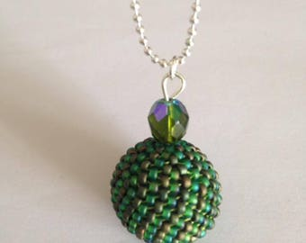 Ball 3D peyote stitch pendant necklace