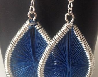 Peruvian earring drop blue