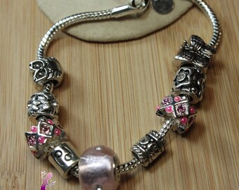 Personalized Bracelet with metal charms European style of the zodiac sign and with Rhinestones pink murano lampwork bead