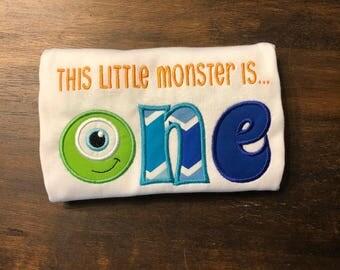 Monter Inc. One First 1st Birthday Shirt Onesie Bodysuit // Mike 1st First Birthday Shirt Onesie  // Monster First Birthday Shirt