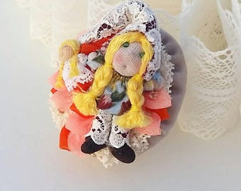Doll brooch,doll with her doll, fairy of toys, toys gnome, fairy of dolls, miniature fairy, fairy brooch, fairy with doll.