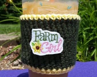 Farm Girl coffee sleeve, reusable, crochet coffee cozy, to go cup sleeve