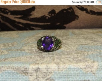 ON SALE exceptional large vintage sterling silver amethyst and peridot statement ring size 7