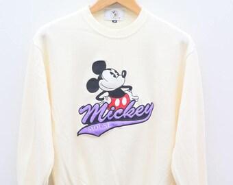 Vintage MICKEY MOUSE Disney Cartoon Animation White Pullover Sweater Sweatshirt Size M