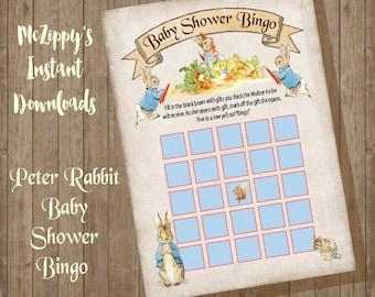 Peter Rabbit Baby Baby Shower Bingo INSTANT DOWNLOAD Baby shower game