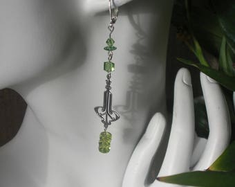 art deco peridot green swarovski crystal earrings