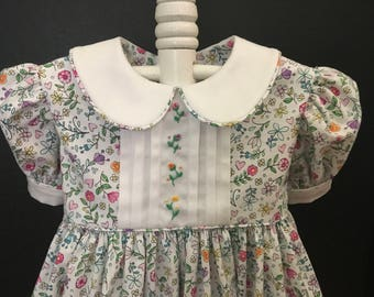 Hand Embroidered Baby Girls Dress Size 1. Available to Ship!      Also Special Order Sizes 1 - 6  (Allow 2-3 weeks).