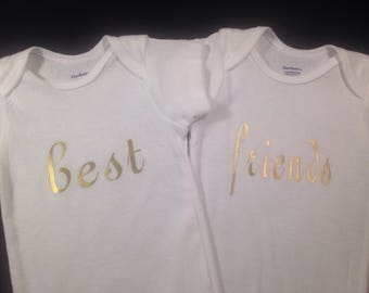 Best Friends Twin Baby Onesies for boy or girl Cute Customized Personalized Funny Unique Baby Shower Gift