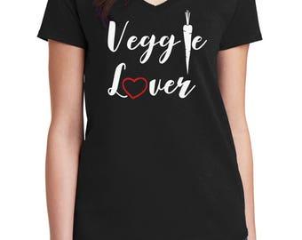 Ladies V-neck - Veggie Lover T Shirt - Vegan Tee - Animal Lovers - Vegetarian T-Shirt - Love For The Animals