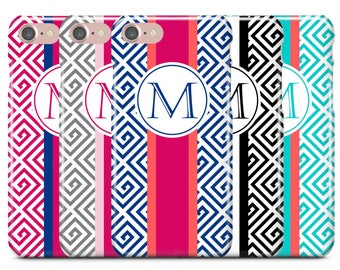 Personalized iPhone Case, iPhone 7 Case, iPhone 7 Plus Case, iPhone 6S, iPhone 6, Monogram Case, Galaxy S8 Case, Greek Key w Rugby Stripe