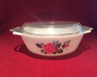 Pyrex JAJ Cottage Rose Casserole Dish 1 pint circa 1970