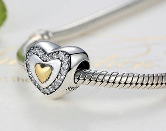 14K gold-plated heart charm