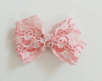 Baby pink skull Lace Classic girl hair bow