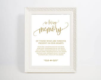 Gold In Loving Memory Template, In Loving Memory Sign, Memory Table Sign, Wedding Signs, Table Sign, Wedding Memorial Sign, WSC_90