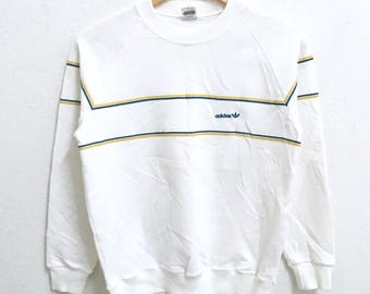 RARE!!! Adidas Trefoil Small Logo Embroidery Crew Neck White Colour Sweatshirts Hip Hop Swag S Size