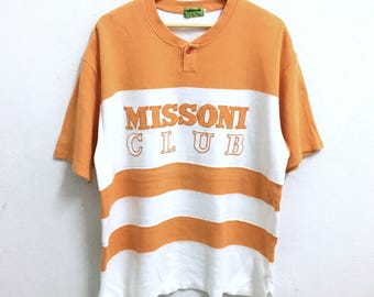 RARE!!! Missoni Club Big Logo Embroidery SpellOut Big Stripes Colour T-Shirts Hip Hop Swag L Size