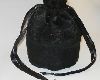 Black Satin Black Organza &  Lace Dolly Bag / Handbag Bride Communion Christening Wedding Bridesmaid
