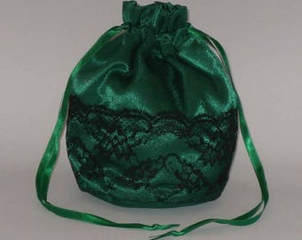 Emerald Green  Satin & Half Lace Dolly Bag Evening Handbag / Purse For Wedding /Bridesmaid/ Prom Drawstring